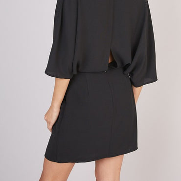 Bridgette Deep v neck wide sleeve dress