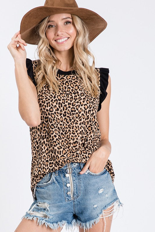 Animal printed knit top with ruffled sleeves