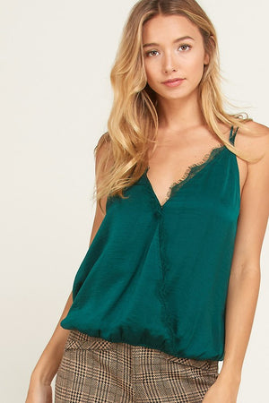 WL emerald green camisol with lace detail