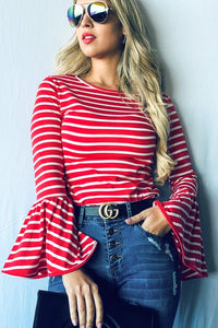 Taylor red white striped top with bell sleeves