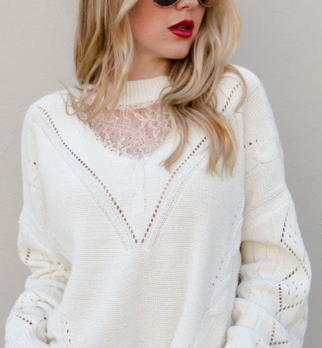 Ivory Sweater oversized with lace detail