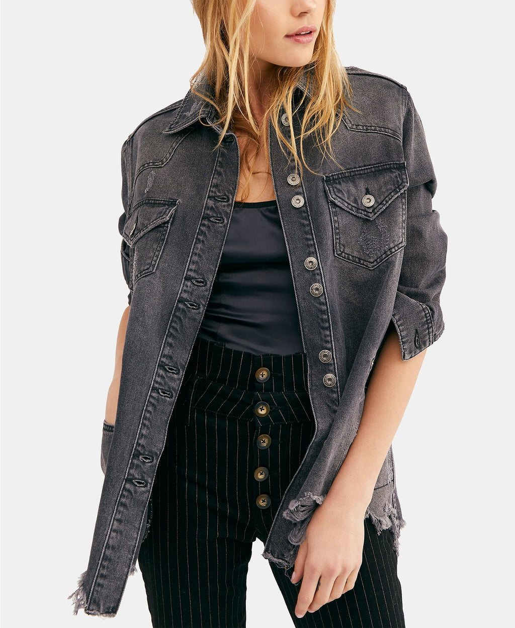 Freepeople Black denim shirt jacket