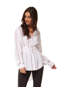 NEW DEX Tunic in white/burgandy stipe