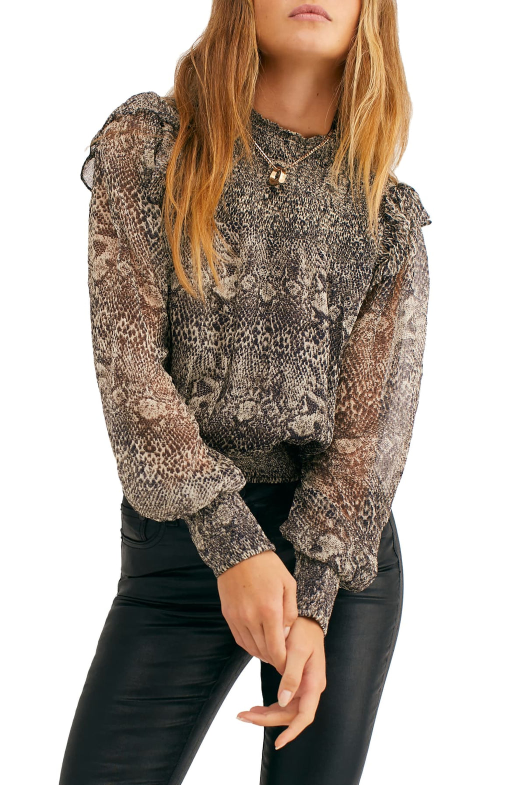 Roma Blouse in snake print