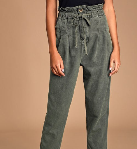 Freepeople Margate Olive Green Paperbag Waist Pleated Trouser Pants