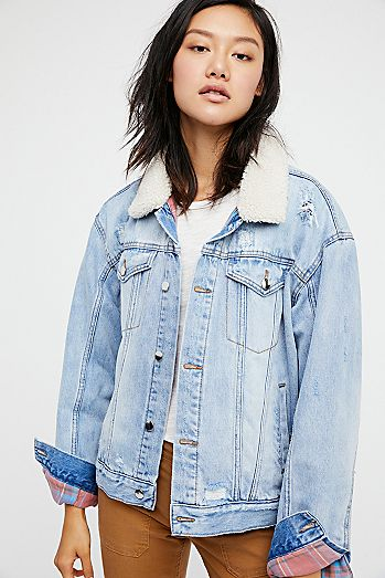 Freepeople Plaid lined trucker sherpa jacket
