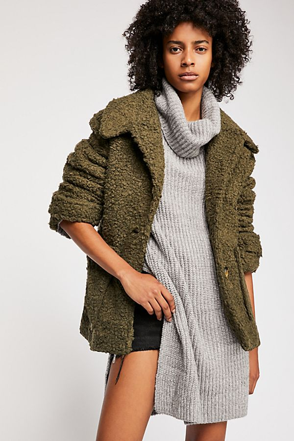 Freepeople so soft cozy peacoat in olive