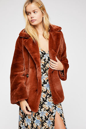 51a41413cf1b Freepeople Solid Kate Faux Fur Coat in rust – JL The Boutique
