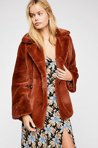 Freepeople Solid Kate Faux Fur Coat in rust