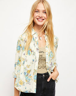 Freepeople hold on to me printed top in ivory