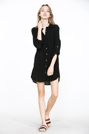 Cari crinkle fabric button down shirt dress/tunic