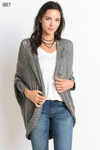 LONG SLEEVE CABLE KNIT OPEN CARDIGAN in grey