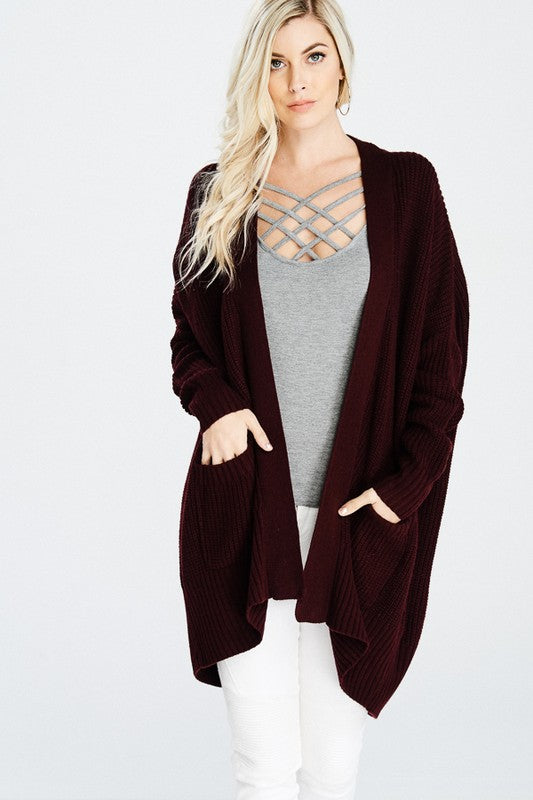 Long sleeve cotton cardigan with pockets in sage green
