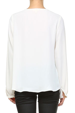 The Miriam gorgeous ruffle with tie neckline detail top