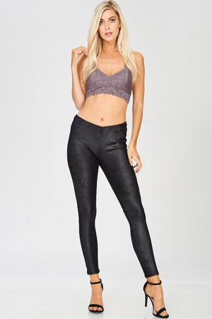 FULL LENGTH VEGAN FAUX SUEDE FITTED LEGGINGS