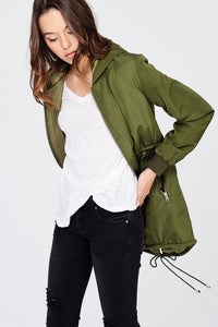 Lined hoodie field jacket with pockets