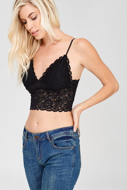 Lace Scalloped v-neck Brami