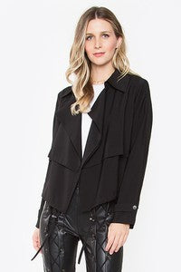 We're loving this simple yet chic open front jacket! Perfect for a 9-5 fit!