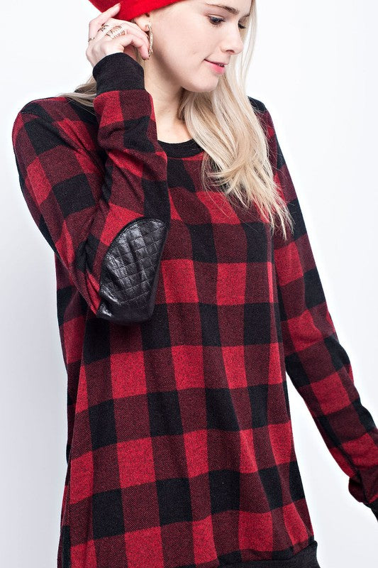 The Brita Miru check print round neck shirt with faux leather elbow patches
