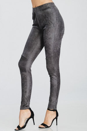 Full length vegan faux suede fitted motto style leggings