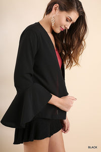 Bell Sleeve Light Jacket with Hook and Eye Closure