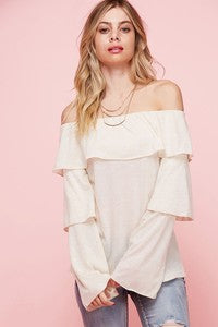 off the shoulder top with tiered ruffled sleeves
