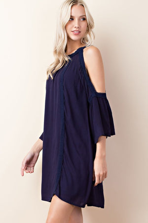 Cold shoulder ruffle sleeve dress in navy