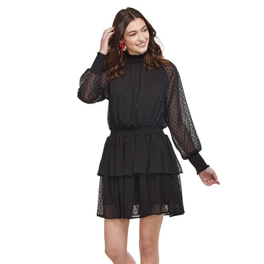 Victorie smocked ruffle dress in black