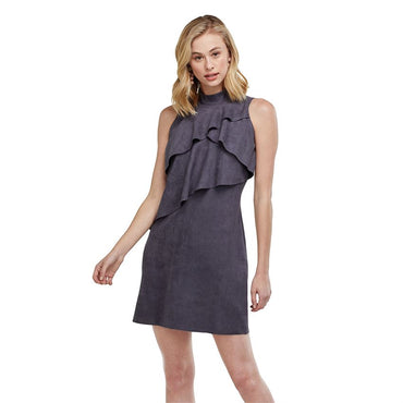 Carly ruffle suede dress in blue