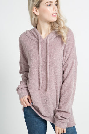 A long sleeve towel terry hoodie with banded hem and sleeve hem and front drawstrings