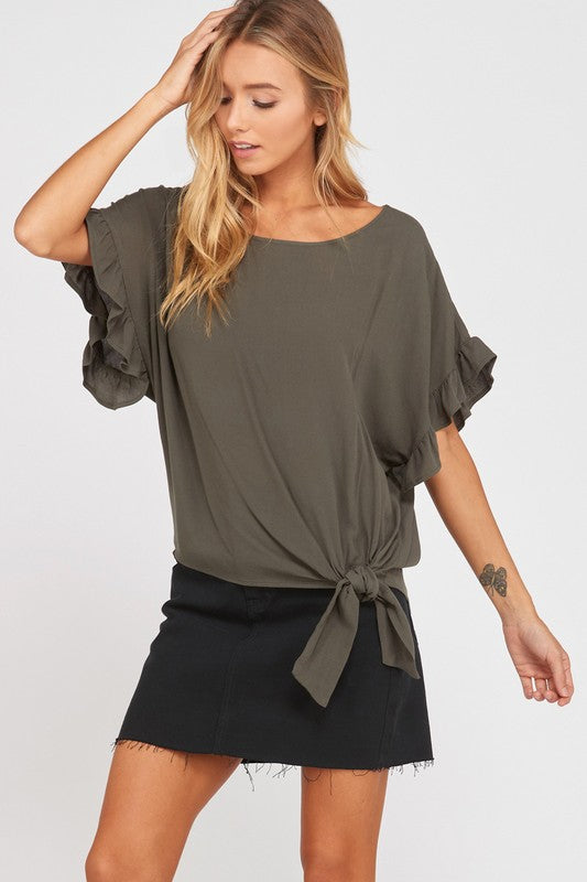Copy of The Carrie top with ruffle sleeve in olive