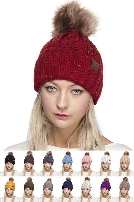 cc burgandy hat with angora pom pom