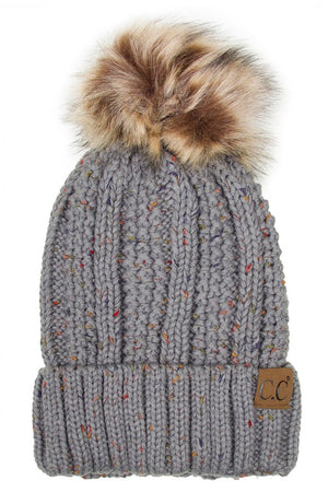 grey cc hat with angora pom pom