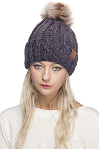 Knitted Hat with Fuzzy Fleece Lining with Pom Pom