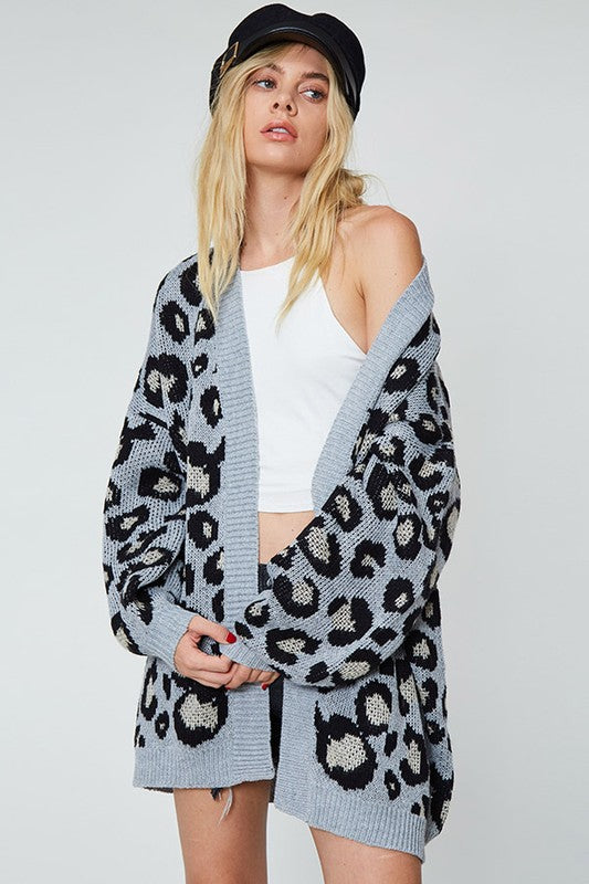 leopard print knit cardigan featuring longline open front and front slanted