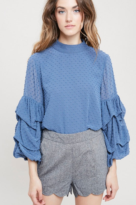 3/4 bubble sleeved clipspot top in blue