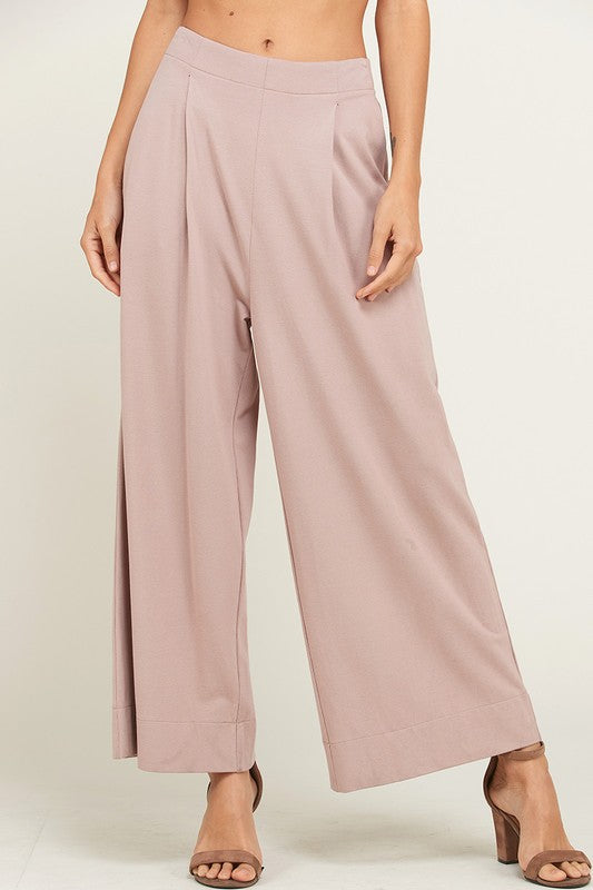 WIDE LEG PLEATED KNIT PANTS WITH POCKETS in mauve