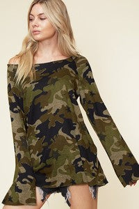 Camo pattern loose neck top with long bell sleeves in black