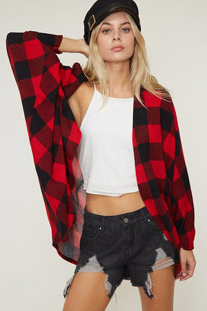 buffalo plaid cardigan in red/black