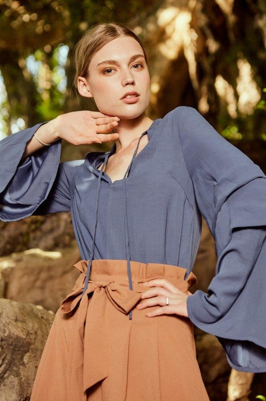 Blue Steel top with ties and flutter sleeve