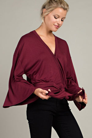 The Rebecca burgandy front tie wide sleeve top