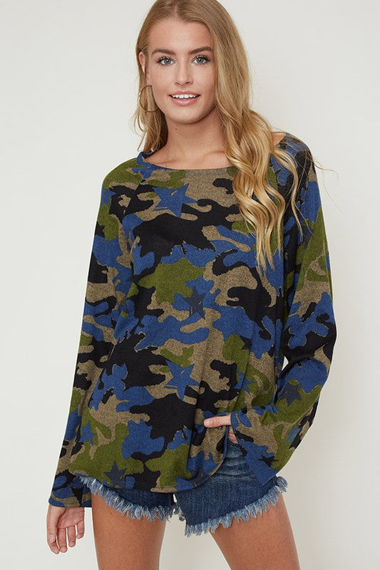 Camo pattern loose neck top with long bell sleeves in blue