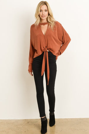 Chocker collar sweater with front tie in taupe
