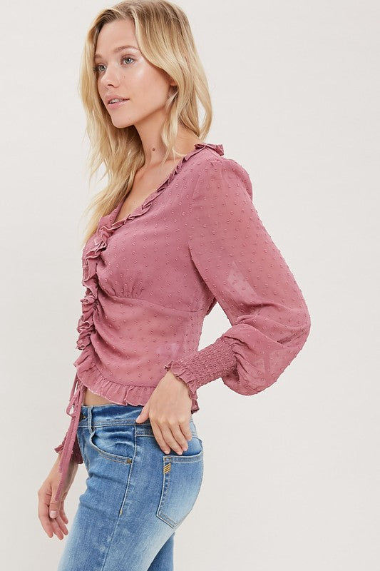 Sheer ruffled front self tie blouse in mauve