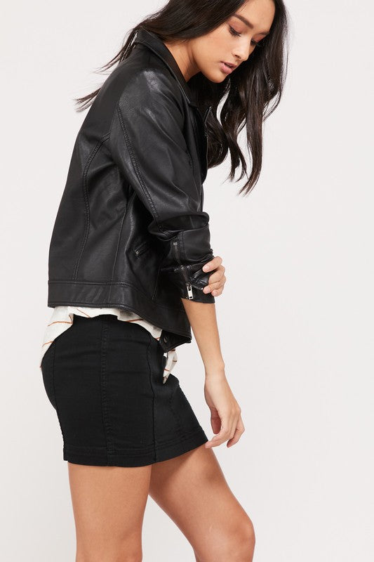 Vegan faux leather motorcycle biker jacket with pockets