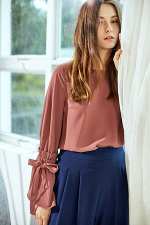 Mauve blouse with gorgeous tie sleeve details