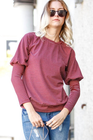 Long puff sleeve striped top