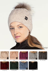 CC Ribbed cuff hat with faux fur pom