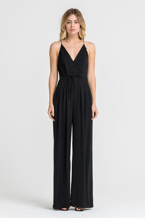 Wide Leg Drawstring Waist Jumpsuit