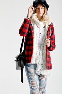Plaid print layered shirt top with hoodie